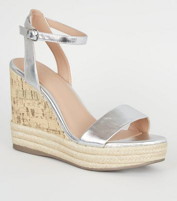 Silver Espadrille Trim 2 Part Cork Wedges
