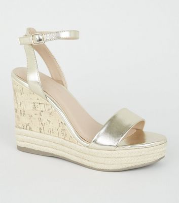 Gold Espadrille Trim 2 Part Cork Wedges