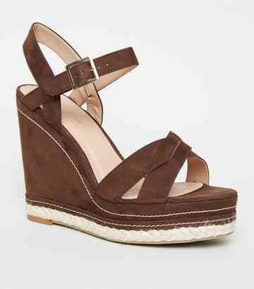 Rust Contrast Stitch Cross Strap Wedges