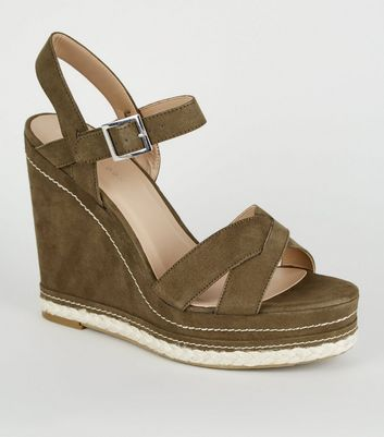 Khaki Contrast Stitch Cross Strap Wedges