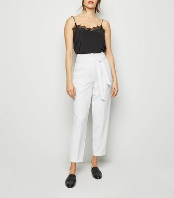 White High Waist Tapered Trousers