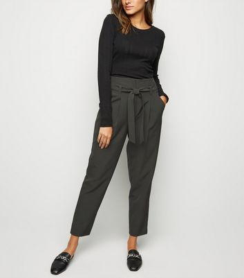 Green High Waist Tapered Trousers