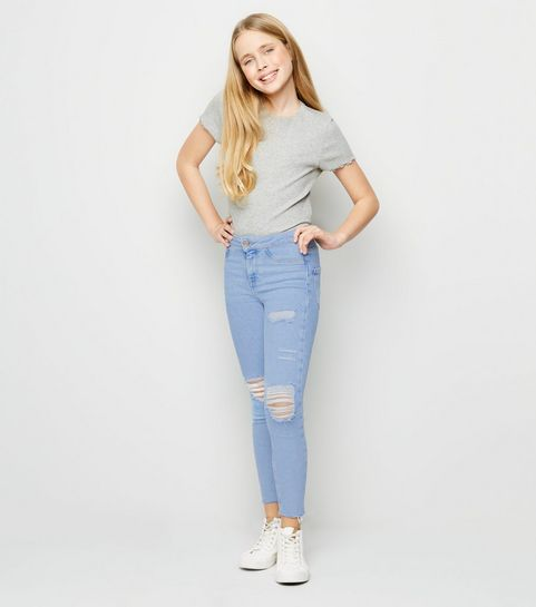 ebad7353ca6 Girls Blue Bleached High Waist Ripped Skinny Jeans …
