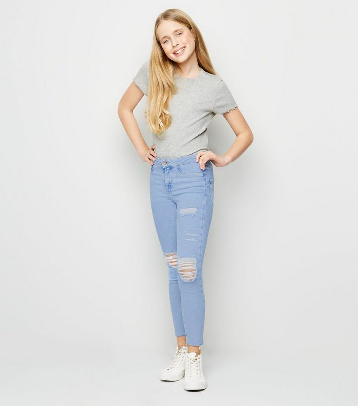e8391150f98 Girls Blue Bleached High Waist Ripped Skinny Jeans | New Look