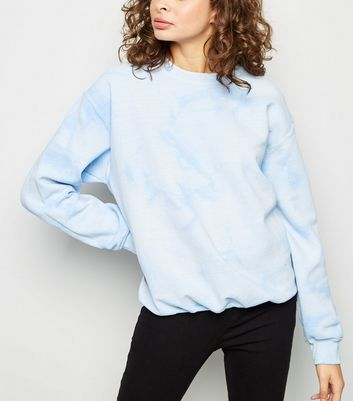 Pale Blue Tie Dye Oversized Sweatshirt