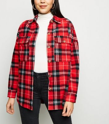 Red Check Fleece Oversized Shirt