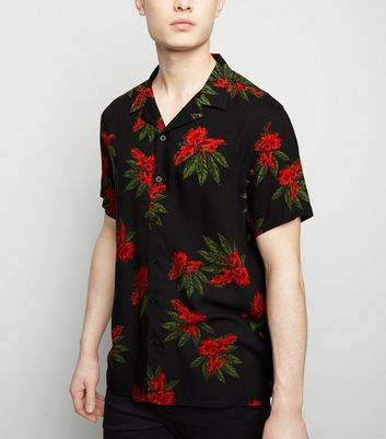 Red Floral Print Revere Collar Shirt