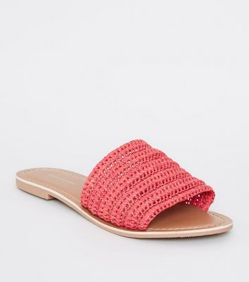Red Woven Strap Sliders by New Look