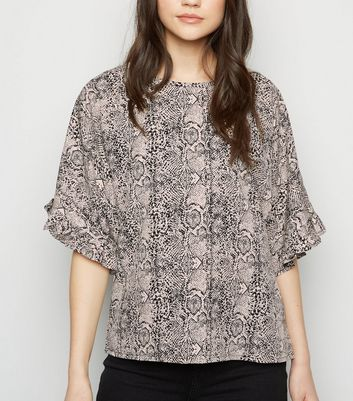 Light Grey Snake Frill 1/2 Sleeve Blouse