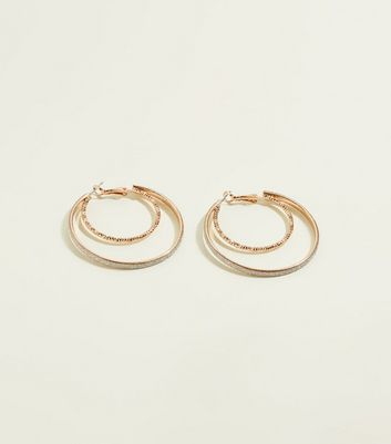 RE:BORN Gold Glitter Double Hoop Earrings