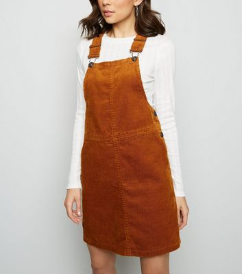 Tan Corduroy A-Line Pinafore Dress