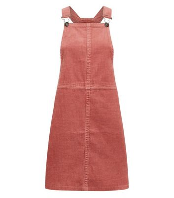 Mid Pink Corduroy A-Line Pinafore Dress New Look
