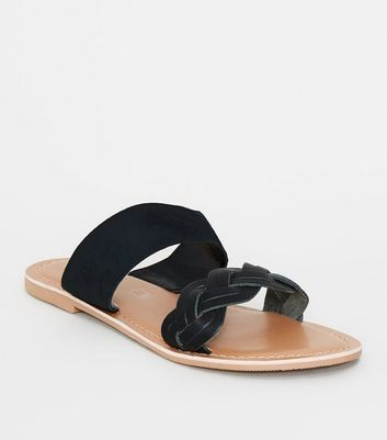 Black Leather Plait Strap Sliders