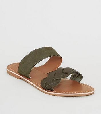 Khaki Leather Plait Strap Sliders