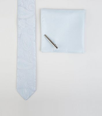 Pale Blue Paisley Tie Handkerchief and Pin Set