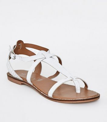 White Leather Faux Snake Gladiator Sandals