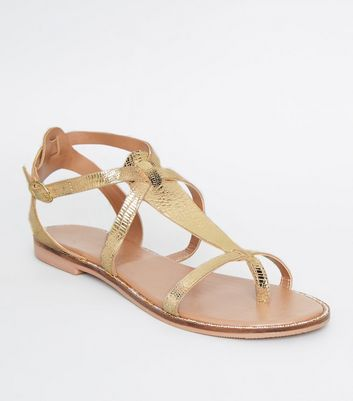 Gold Leather Faux Snake Gladiator Sandals