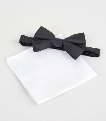 Black Bow Tie and Handkerchief Set