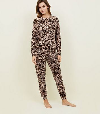 Brown Soft Touch Leopard Print Pyjama Joggers