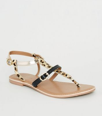 Black Leather Leopard Print Strap Sandals