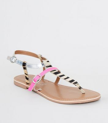 Black Leather Zebra Print Strap Sandals