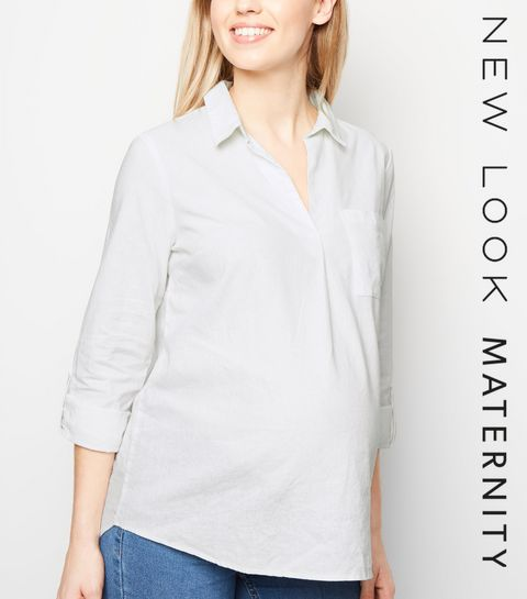 5f1ce71d7f3 ... Maternity White Linen Blend Overhead Shirt ...