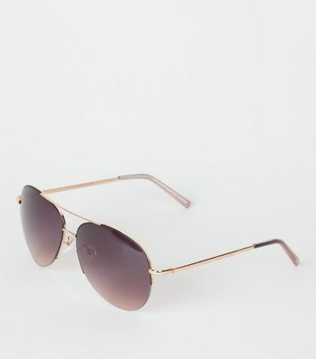 Black Rimless Pilot Sunglasses