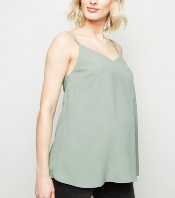 Maternity Mint Green Lattice Back Cami