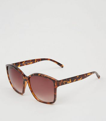 Brown Faux Tortoiseshell Rectangle Sunglasses