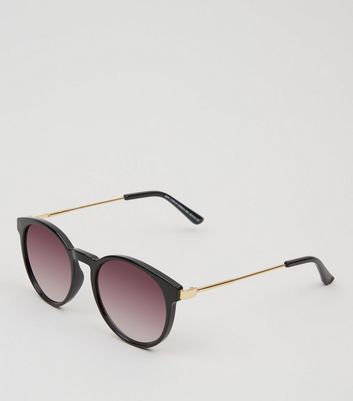 Black Rounded Metal Temple Sunglasses