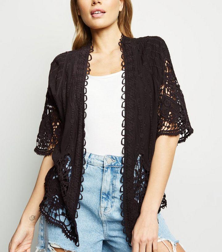 Black Crochet Kimono New Look