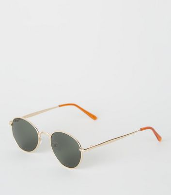 Gold Circle Green Tinted Sunglasses