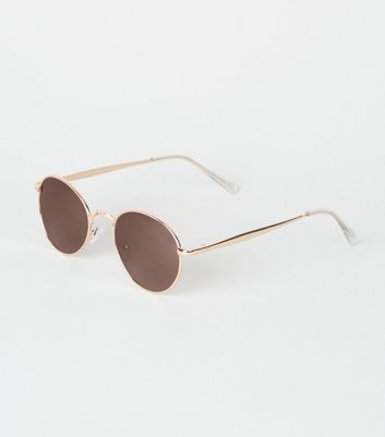Gold Round Mirrored Sunglasses