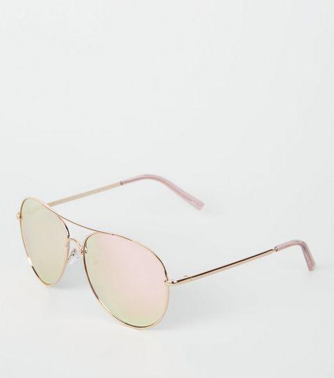 ee1219e3a2 Rose Gold Mirrored Pilot Sunglasses · Rose Gold Mirrored Pilot Sunglasses  ...