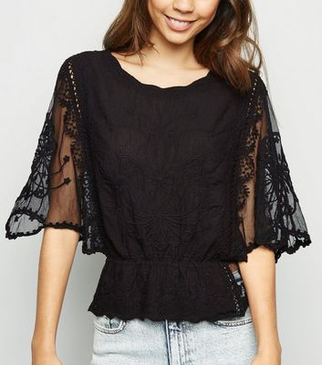 Black Crochet Mesh Sleeve Peplum Blouse