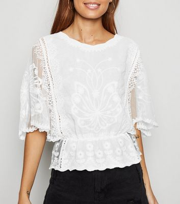 White Crochet Mesh Sleeve Peplum Blouse