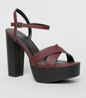 Dark Red Cross Strap Platform Sandals