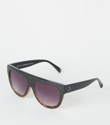 Black Tinted Faux Tortoiseshell Flat Top Sunglasses