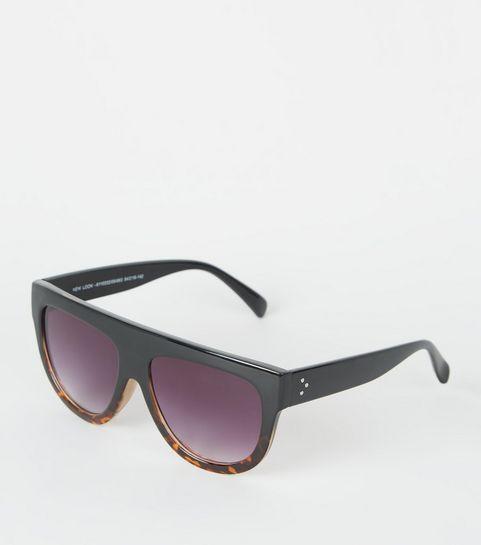 c85d509c7a865 ... Black Tinted Faux Tortoiseshell Flat Top Sunglasses ...