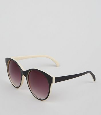 Black Rounded Contrast Inner Sunglasses