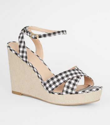 Black Gingham Cross Strap Wedges