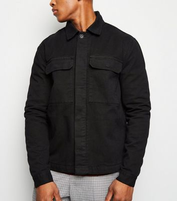 Black Utility Pocket Denim Shacket