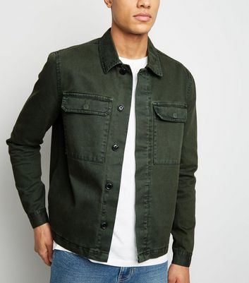 Khaki Utility Pocket Denim Shacket