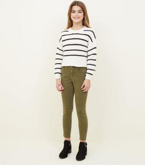 e37017cc66d0 ... Girls Khaki Ripped Skinny Jeans ...