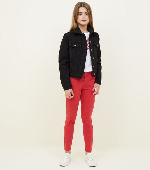 e0f6a419ec6d ... Girls Red Ripped Skinny Jeans ...