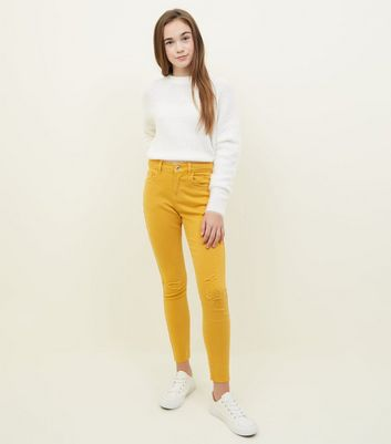 Girls Mustard Ripped Skinny Jeans