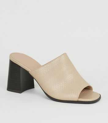 Off White Woven Flared Block Heel Mules