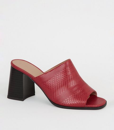 66f3f4072ac5 ... Red Woven Flared Block Heel Mules ...