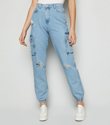 Bright Blue Ripped Utility Denim Joggers New Look