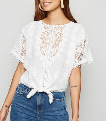 Cream Crochet Tie Front T-Shirt